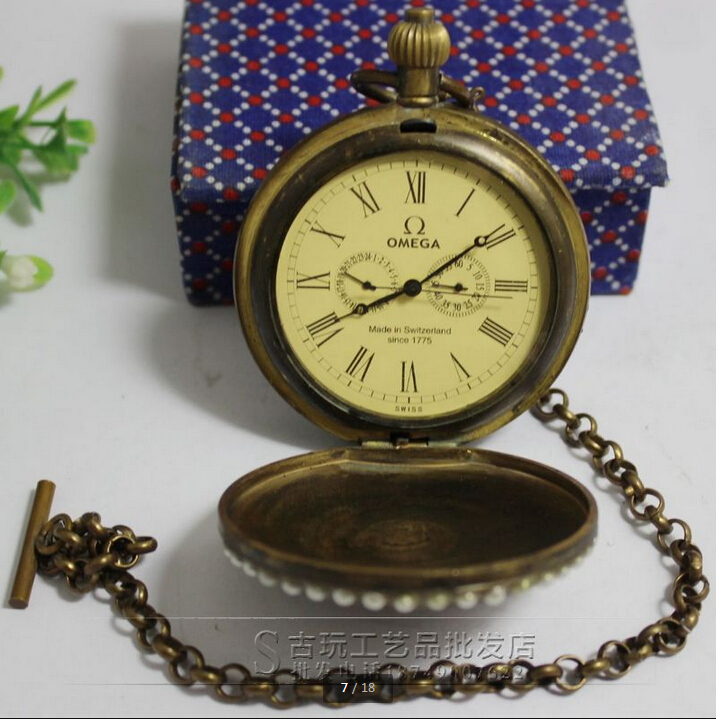 Antique fine metal copper brass mechanical pocket watch inlaid crystal ornaments free email(China (Mainland))