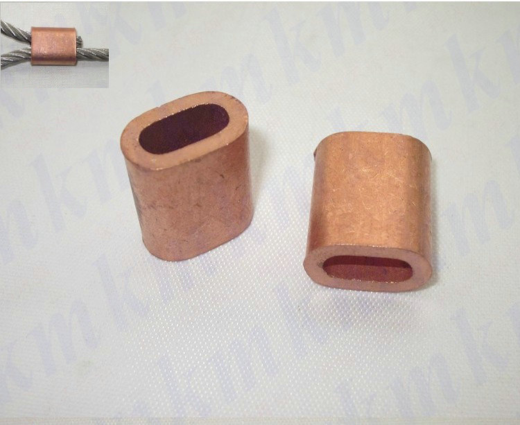 Free Shipping Wholesale single hole oval type 4MM wire rope clip or pipe copper brass ferrule sleeves connector fittings<br><br>Aliexpress