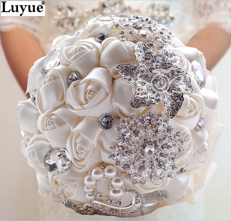Gorgeous Wedding Flowers Bridal Bouquets Elegant Pearl Bride Bridesmaid Wedding Bouquet Crystal Sparkle 2015 New buque de noiva(China (Mainland))