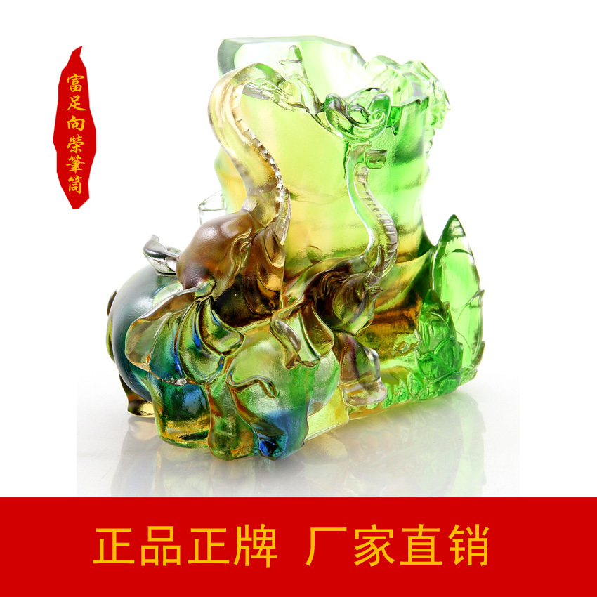 Здесь можно купить  Dewaxing glass glass home decoration rich Xiangrong pen Office Supplies ancient glass glass elephant pen  Обувь