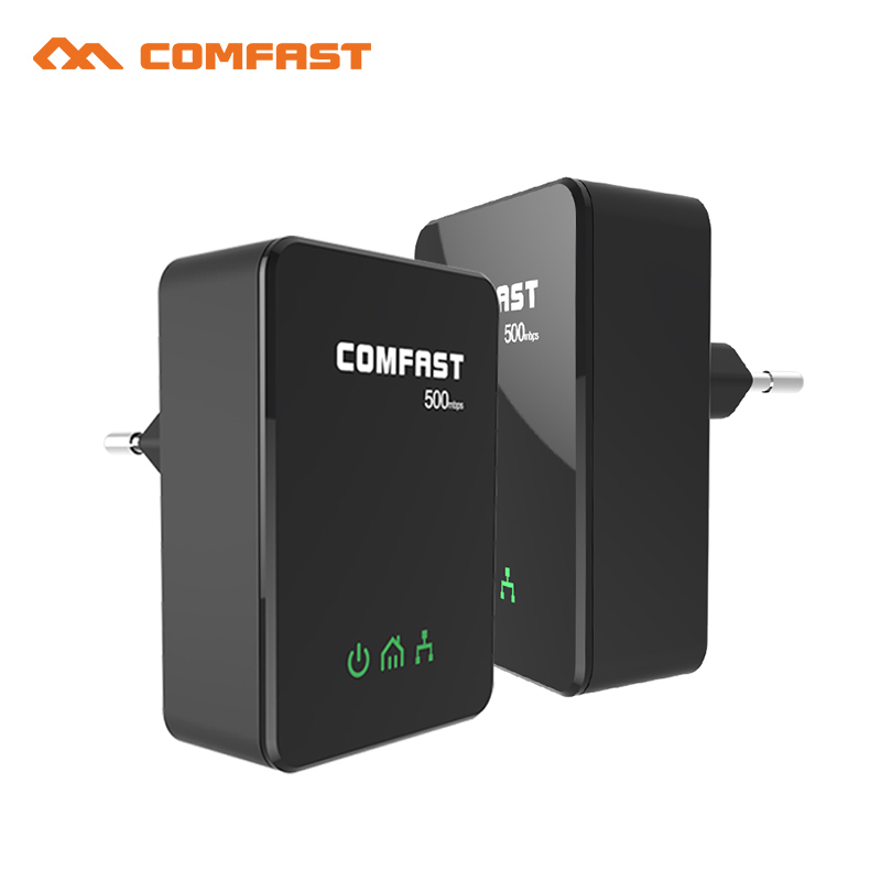 Hot ! COMFAST Power Line Ethernet PLC Wifi Extender 500Mbps Mini plc EU Home plug Network Powerline CF-WP500M LAN Adapters kit(China (Mainland))