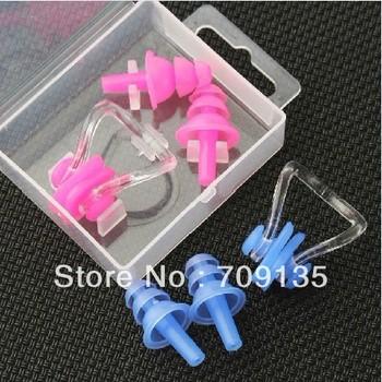 Free shipping 20sets/lot Swimming earplugs ear plug waterproof professional swimming nose clip