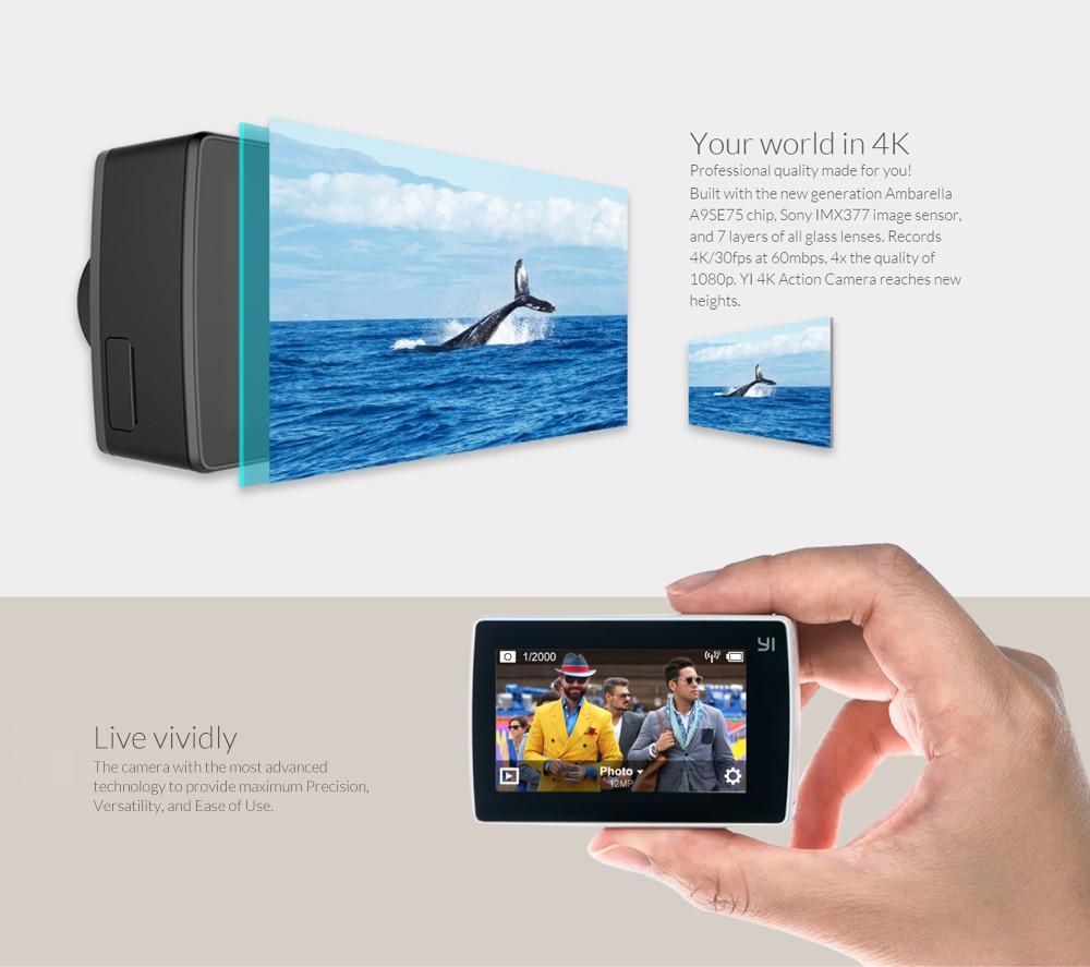 """ถูก YI 4พันการกระทำกล้องระหว่างประเทศฉบับที่2 Ambarella A9SE Cortex-A9 ARM 12MP CMOS 2.19 """"155องศาEIS LDC WIFI"""