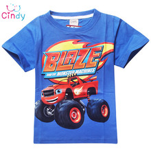 2016 New Kids clothes cotton short-sleeved boys t shirts Blaze And The Monster Cartoon t shirt patterm kids boys Clothing(China (Mainland))