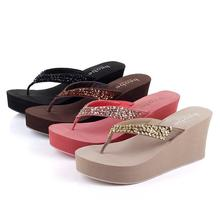 Summer woman shoes flip flop wedges sandals new rhinestone beads thick crust muffin beach sandals and slippers Discount(China (Mainland))