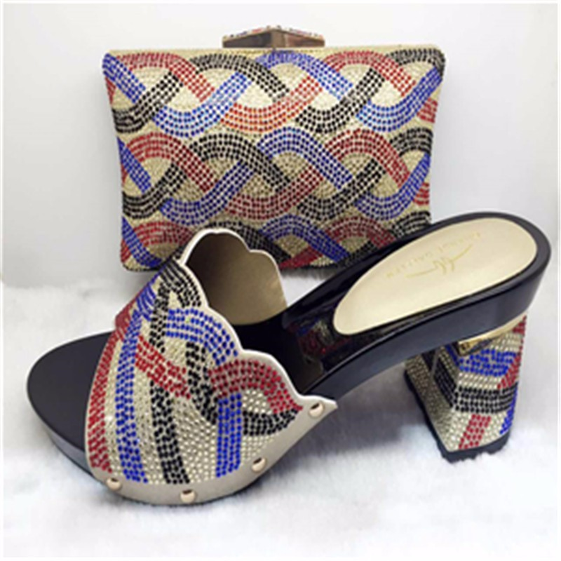 New Italian Shoe With Matching Bag Set Decorated With Stones For Party African Women Shoe And Bag To Match Set  TH12 Silver.