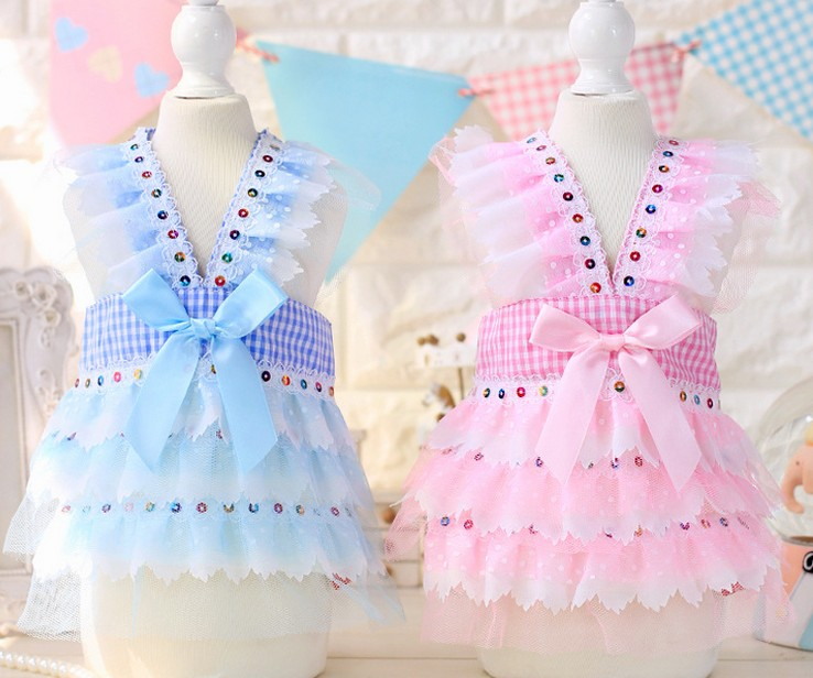 Free shipping Adorable princess sequin font b tartan b font suspenders skirt dog dresses pet apparel