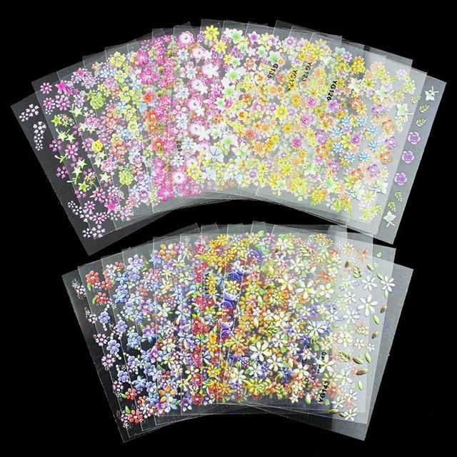 24 конструкций / много красоты цветы 3D ногтей Decotations блеск маникюр Diy инструменты для подвески ногти JH158