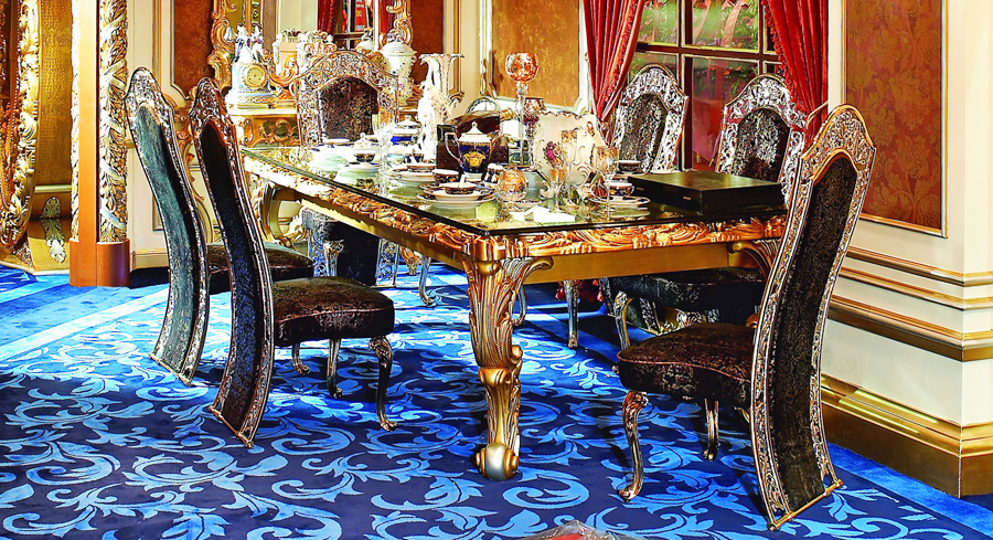 luxury imperial wood carved decorative dining room set in dining room