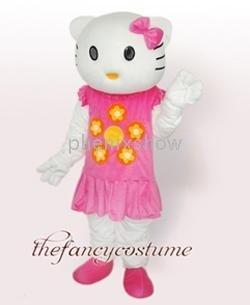 Adult New Hello Kitty Cat pink dress girl mascot Costume