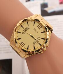 New 2015 Design Fashion Gold Watch Women Men Famous Brand Wristwatches Lady Stainless Steel Metal Quartz Watch Relojes De Marca(China (Mainland))