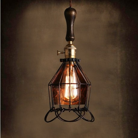 Фотография Edison Loft Style Industrial Wind Vintage Pendant Light Fixtures For Dining Room Wood Iron Hanging Lamp Lamparas Colgantes