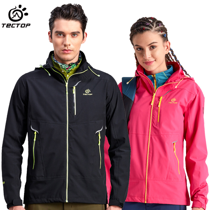 Tectop male Women single tier outdoor jacket windproof water slim single tier breathable outdoor jacket(China (Mainland))