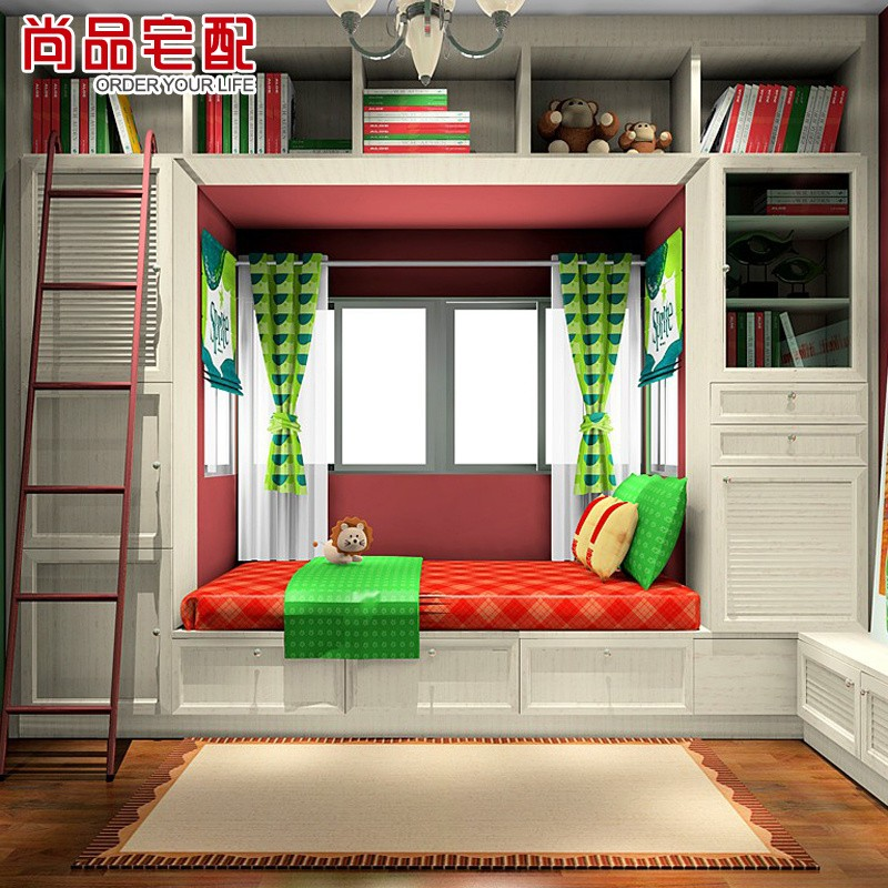 Delivery whole house and bookcases custom furniture teenagers study children's room 1 room 2 beds with bookcase(China (Mainland))