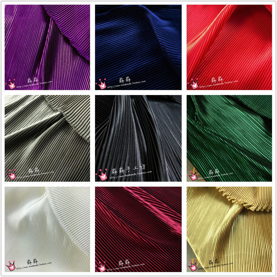 1psc Pressed crushed imitated silk satin pleated fabric clothing Pure color Pinstripe dress cloth