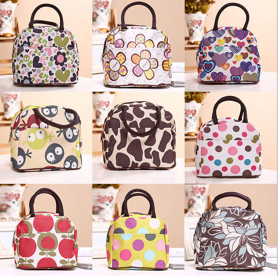 Waterproof Casual Women Kids Lunch Bag Outside Picnic Food Packaging Handbag Tote for lunch boxes heart leopard prints(China (Mainland))