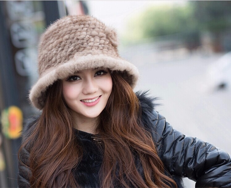 2016 Newest 100% top quality genuine mink fur knitted natural fur hat with rosette mink fur women's fedoras quality lady cap(China (Mainland))