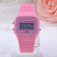 Digital Rubber Silicone Wrist Watch Multi Sugar Color Alarm Stopwatch For Girls Ladies Women MHM105 S2