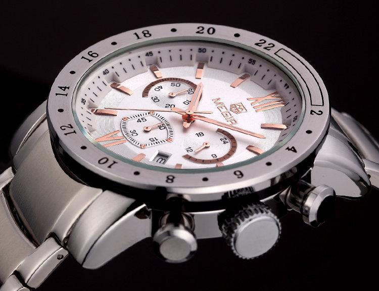Megir мужчины часы лучший роскошных часов военный хронограф 6 руки 24 ч. мужчины из нержавеющей стали часы Relogio Masculino