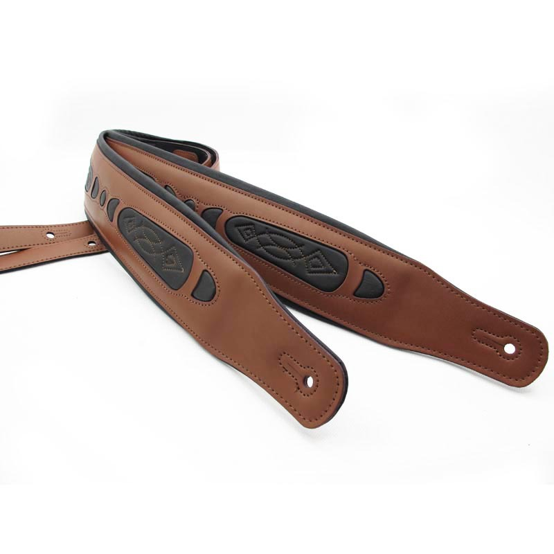 Guitar straps bass straps interlining with thick brown genuine leather Promotional packages mailed(China (Mainland))