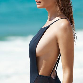 Lady Siamese Backless High Elasticity Tight Swimsuit Swimwear Bikini One Piece Swimsuit Swimwear Women Black White VDM49 T50