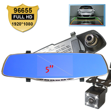 New Full HD 1080P Car Dvr Camera Novatek 96655 5 Inch Rearview Mirror Digital Video Recorder With Dual Lens Registrar Camcorder(China (Mainland))