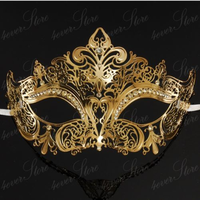 Silver Black Gold Metal Laser Cut Venetian Party Mask Mardi Gras Masquerade ball Mask with Diamond Free Shipping(China (Mainland))