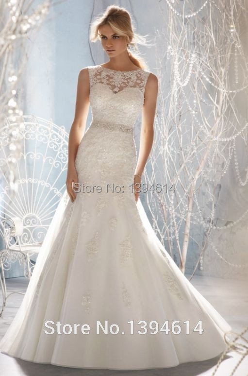 2015 new hot selling wedding dresses sheer neckline tulle for Need to sell my wedding dress