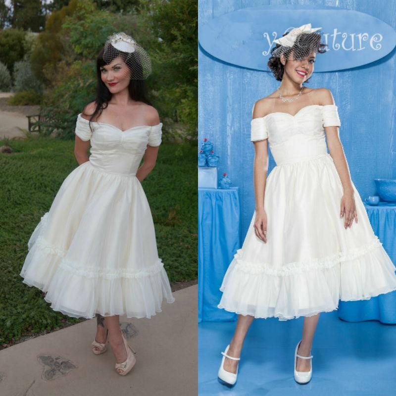 2016 Pretty Off The Shoulder Short Tea Length Informal Wedding Dress Vestidos De Noiva Curto In
