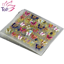 24Pcs in 1 Large Size Sheet Moon Butterfly Animal Pattern For Stamping 3D Nail Sticker Charms