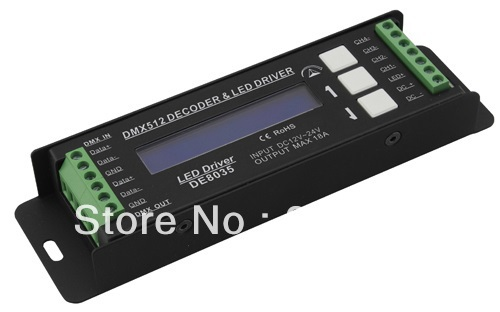 Free Shipping DMX LED Driver 4 Channels RGB Controller Input DC12-24V Constant Voltage Single CH Output PWM <5A Model:DE8035(China (Mainland))