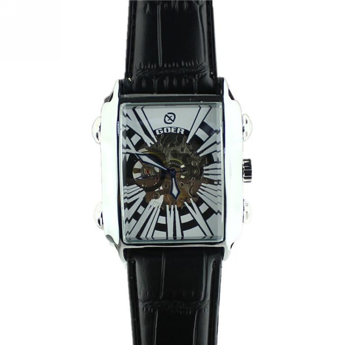 Новый 2016 Роскошные Часы Скелет Механическая Автоматическая Автоподзаводом Полые Гравировка Автоматическая мужские Часы Часы Часы саат