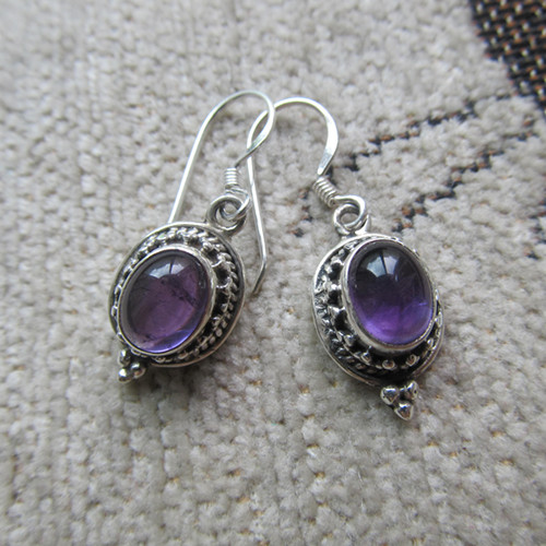 Nepal Silver Sterling Silver Earrings Inlaid Amethyst Replenishment Number<br><br>Aliexpress