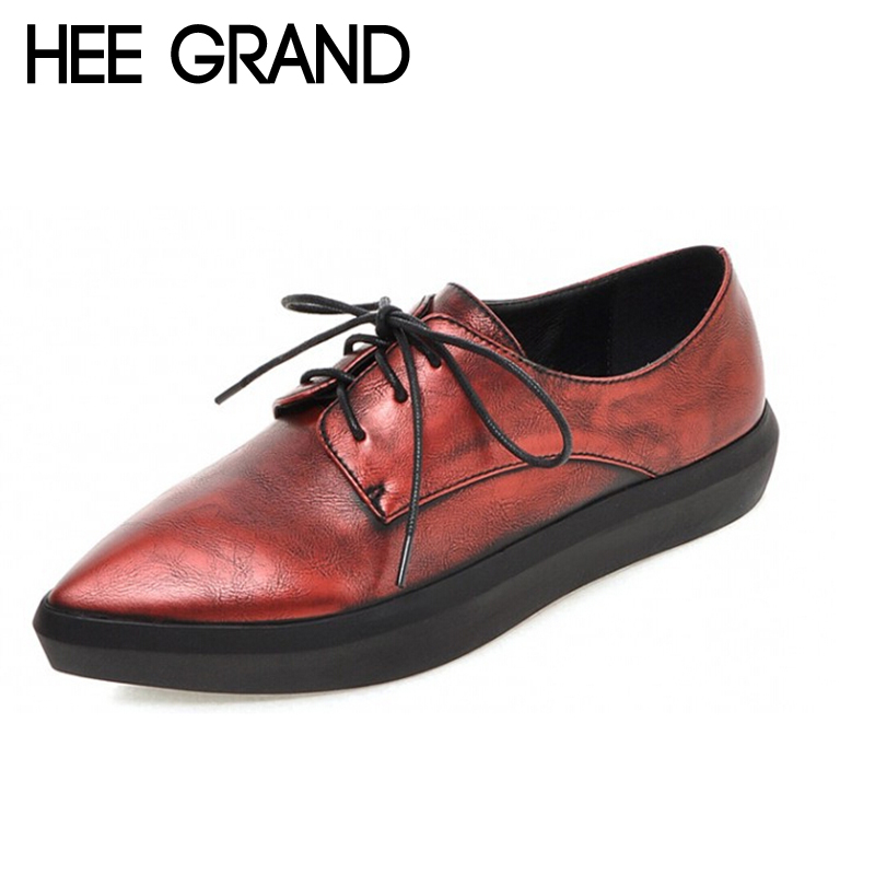 Vintage Oxfords Platform Ponited Toe Women Spring Thick Botton Bright Color Casual Shollow Shoes Woman Flats XWD3485