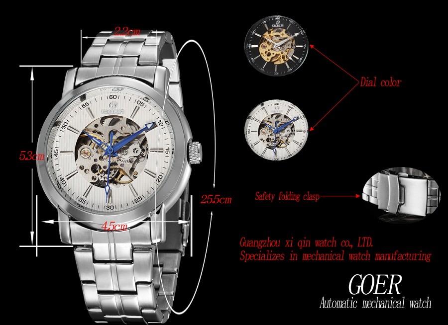 GOER марка мужская спорт Механические Нержавеющей Стали Наручные часы Автоматические часы водонепроницаемый мужской Световой Скелет цифровые Человеко часы