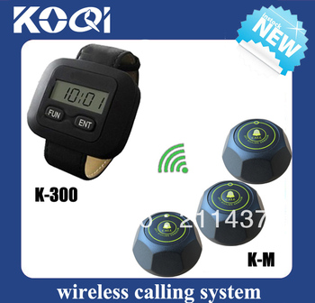 Pager Calling System hospital paging systems wrist receiver comptablie with single call button K-M (2 wrist pager and 10 call)