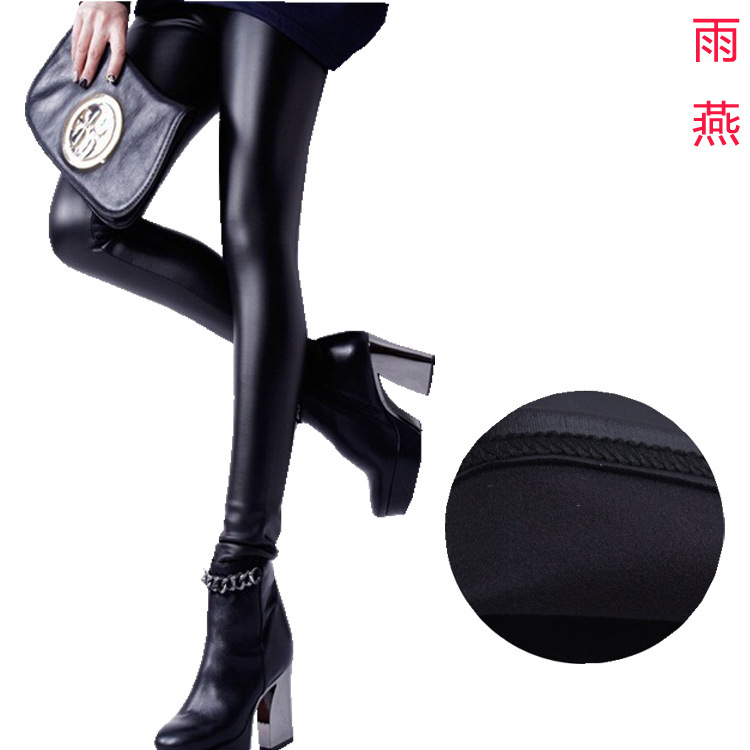 2014 моделей взрыва новая зимняя был тонкий подшлифовка тонкий кашемир кожаные леггинсы флис брюки большой ярдов женские(China (Mainland))