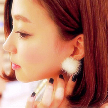 2016 Fashion Womens Fur Pearl Double Side Percing Ear Stud 11 Colors Statement Bride's Gift Accessory(China (Mainland))