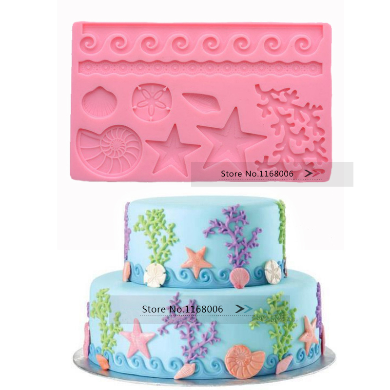 Cake Decoration Molds : seaweed conch shell shape 3D molds fondant silicone cake ...