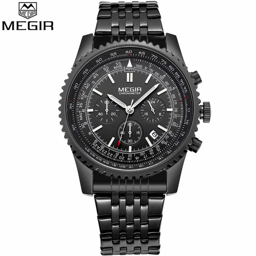 Montre Homme Luxury Watch Men MEGIR Fashion Business Clock Man Famous Brand Watches Luminous Stainless Steel Male Quartz Watch(China (Mainland))