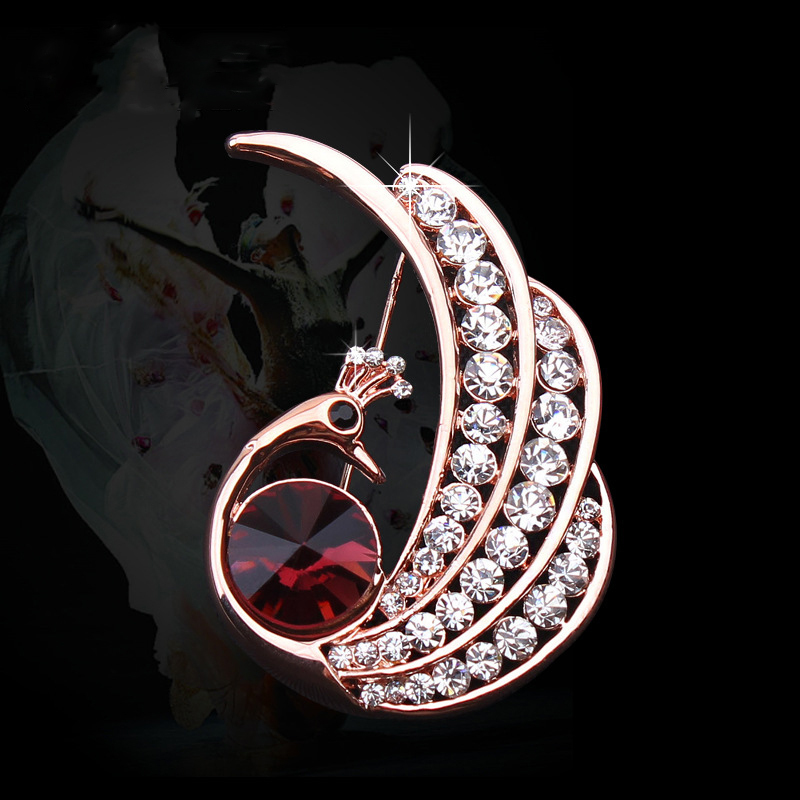 fashion jewelry handmade zinc alloy rose gold plated rhinestone crystal peacock brooch cape clasp pin women - DongGuan NiHao Hardware Gifts Co.,Ltd store