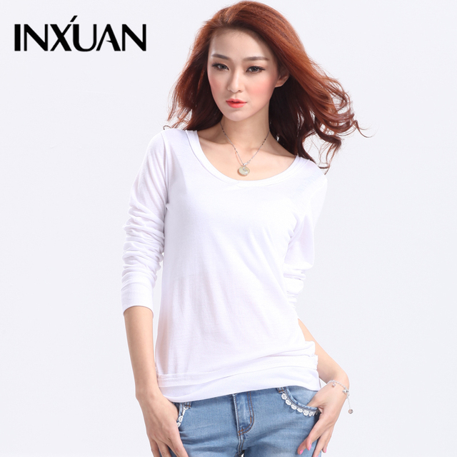 Spring female sweater pullover o-neck solid color slim basic female long-sleeve shirt