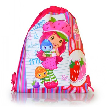 Hot sale,4Pcs Strawberry Shortcake Children Cartoon Drawstring Backpacks,School Bags,Mixed 2 styles,2014 Christmas Gift