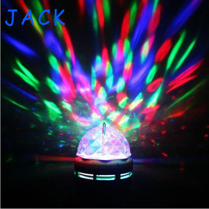 Full Color 3W E27 RGB LED Small Crystal Magic Ball Light Rotating DJ party stage Bulb rotating Lamp Bar decoration(China (Mainland))