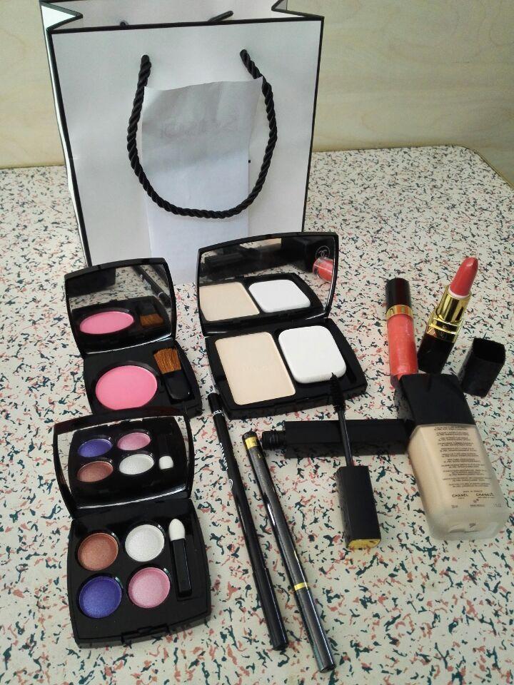 2015 New 9 Sets Makeup Eye Shadow Eyeliner Mascara Lipstick Lip Gloss Blush Foundation Powder