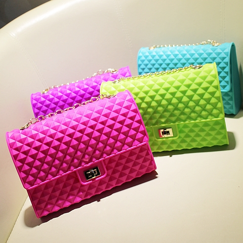 free shipping 2015 new fashion silicone women's summer bag lady jelly candy chain handbag for beach colorful clutch evening bags(China (Mainland))