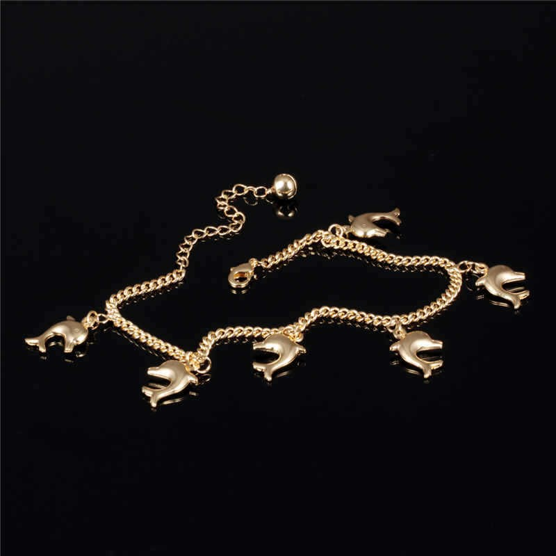 Cute dolphin pendant anklet bracelet  yellow gold filled fashion women girl animal foot feet chain