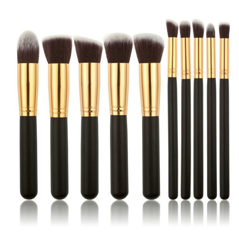 10Pcs /set Professional Cosmetic Makeup Tool Kit Brushes Set Powder Eyeshadow Blush Wood Brush NA1010