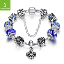 Hot Sale 4 Colors 925 Silver Beads Heart Charm Strand Bracelet for Women Fine Jewelry Fit Original Bracelets Pulseira(China (Mainland))