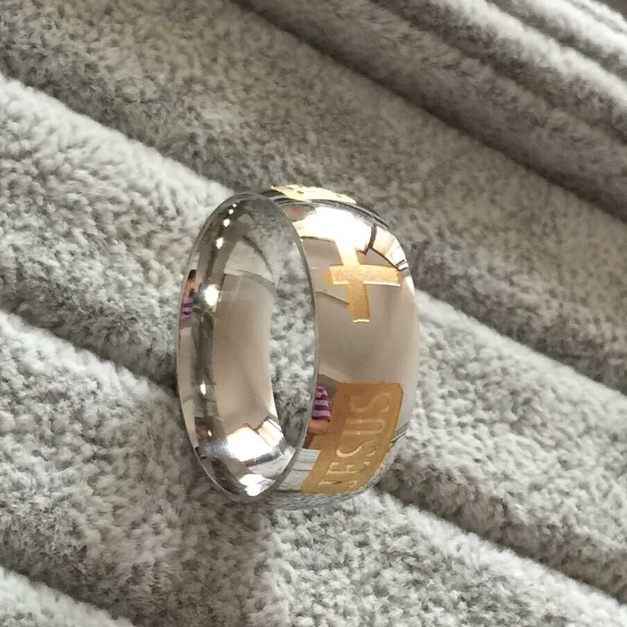 High Quality 1 Yellow Gold High Polished Jesus Cross Ring Width 8mm Couple Ring Popular 316L Jewelry Christmas Present(China (Mainland))